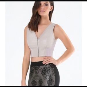Bebe faux leather lavender/grey zip crop top Sm